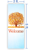 2x5 Vertical Church Banner of Welcome - Fall