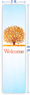 2x8 Vertical Church Banner of Welcome - Fall