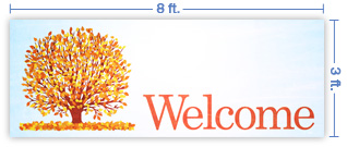 8x3 Horizontal Church Banner of Welcome - Fall