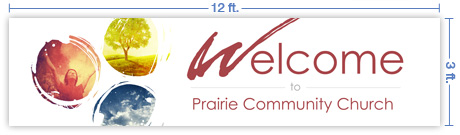 12x3 Horizontal Church Banner of Welcome - Paint Swirls