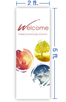 2x5 Vertical Church Banner of Welcome - Paint Swirls