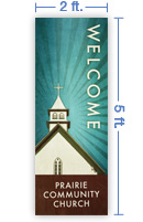 2x5 Vertical Church Banner of Welcome To Church