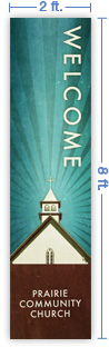 2x8 Vertical Church Banner of Welcome To Church