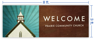 8x3 Horizontal Church Banner of Welcome To Church