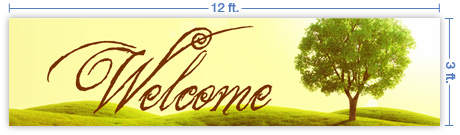 12x3 Horizontal Church Banner of Welcome - Tree