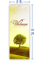 2x5 Vertical Church Banner of Welcome - Tree