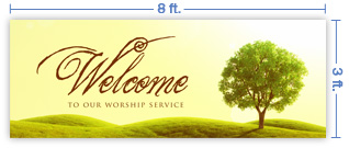 8x3 Horizontal Church Banner of Welcome - Tree