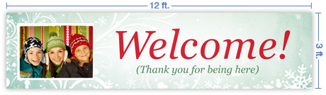 12x3 Horizontal Church Banner of Welcome - Winter Smiles