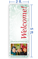 2x5 Vertical Church Banner of Welcome - Winter Smiles