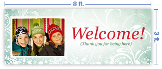 8x3 Horizontal Church Banner of Welcome - Winter Smiles