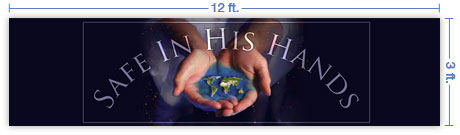 12x3 Horizontal Church Banner of Whole World