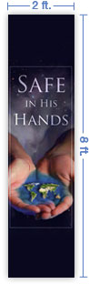 2x8 Vertical Church Banner of Whole World