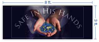 8x3 Horizontal Church Banner of Whole World