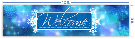 12x3 Horizontal Church Banner of Winter Welcome
