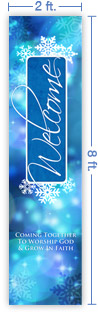 2x8 Vertical Church Banner of Winter Welcome