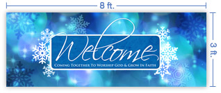 8x3 Horizontal Church Banner of Winter Welcome